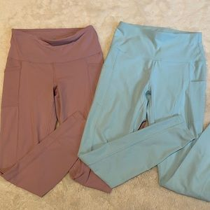 2 pack Yogalicious Blue and Pink Yoga Athletic Workout Leggings sz Small